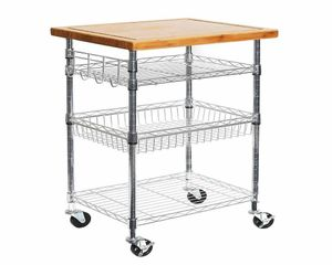 Bamboo and metal Prep Table Kitchen Island Utility Cart