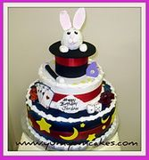 YumYumCakes magic theme bunny in the hat birthday cake