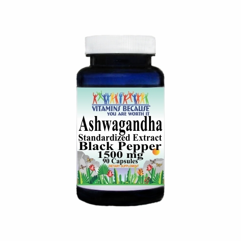 14689 Buy 1 Get 2 Free Ashwagandha Standardized Extract Black Pepper 1500mg 90caps or (180caps Scroll Down)