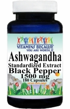 14696 Buy 1 Get 2 Free Ashwagandha Standardized Extract Black Pepper 1500mg 180caps or (90caps Scroll Down)
