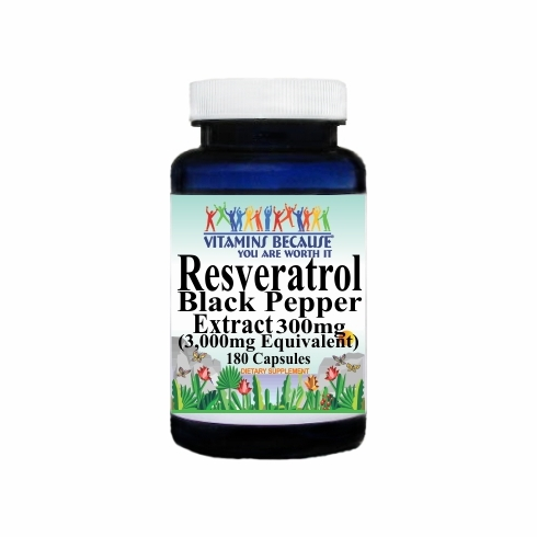 14757 Buy 1 Get 2 Free Resveratrol Extract Black Pepper Equivalent 3000mg 180caps or (90caps Scroll Down)