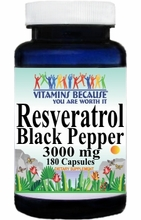14757 Buy 1 Get 2 Free Resveratrol Extract Black Pepper 3000mg 180caps or (90caps Scroll Down)