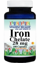 4123 Buy 1 Get 2 Free Iron Chelate 28mg 100caps or (200caps Scroll Down)