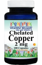 4215 Buy 1 Get 2 Free Chelated Copper 2mg 100caps or (200caps Scroll Down)