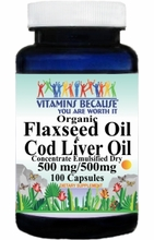 5908 Buy 1 Get 2 Free Organic Flaxseed and Cod Liver Oil (Emulsified Dry) 100caps or (200caps Scroll Down)
