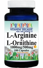 6202 Buy 1 Get 2 Free L-Arginine and L-Ornithine 1000mg/500mg 100caps or (200caps Scroll Down)