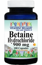 7254 Buy 1 Get 2 Free Betaine Hydrochloride 900mg 100caps or (200caps Scroll Down)