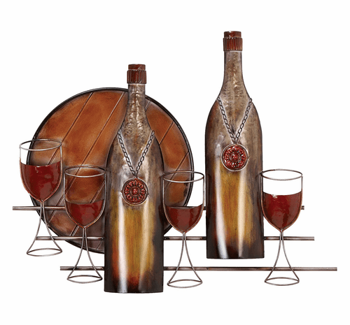 A Good Year Vintage Wine Metal Wall Sculpture