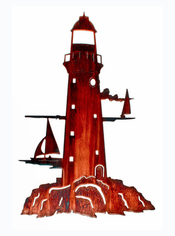 Alluring Lighthouse Metal Wall Sculpture