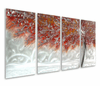 Autumn's Fury Handpainted Aluminum Trees Wall Art Set of 4