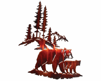 Bear Family in the Pines Metal Wall Art Sculpture