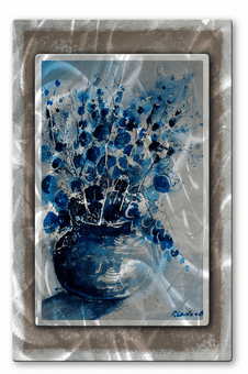 Blue Vase of Flowers Metal Art