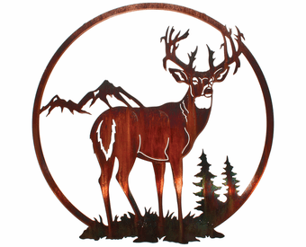 Buck in the Pine Forest Metal Wall Art Hanging