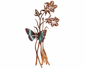 Butterfly and Roses Metal Wall Sculpture