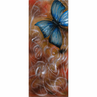 Butterfly Introspect Handpainted Aluminum Wall Hanging