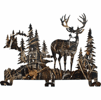Camouflage Deer Metal Wall Coat Rack