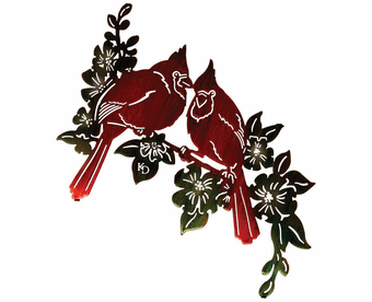Cardinals & Hibiscus Metal Wall Art