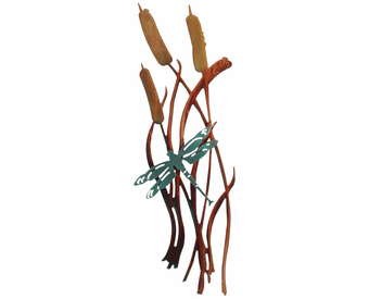 Cattail Dragonfly Metal Wall Art Hanging