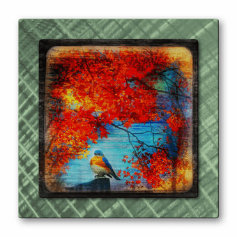 Chilly Bluebird in Autumn Metal Art