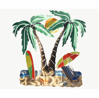 Coconut Palm Tree Pair Metal Wall Sculpture