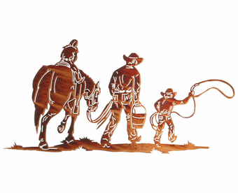 Cowboy Family Cut-Out Metal Wall Sculpture