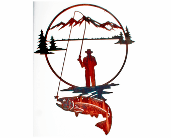 Cowboy Fisherman Metal Wall Hanging