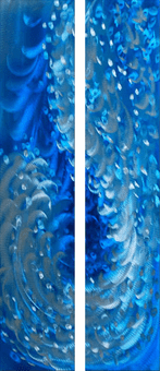 Dazzled by Blue Handcrafted Aluminum Wall Art Pair