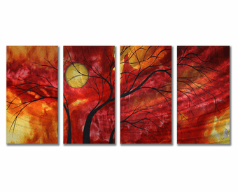 Delectable Diversion 4-Panel Handmade Trees Metal Wall Art