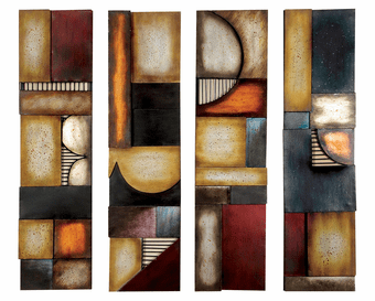 Earthy Geometrics Abstract Wall Art Set of 4