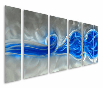 Enthralled by Blue Abstract Six-Piece Aluminum Wall Art