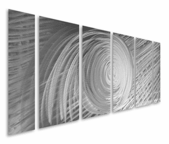 Eye of the Storm Abstract Six-Panel Hand Painted Metal Wall Art