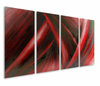 Fire and Ice Hand-Painted Metal Wall Hanging Set of 4