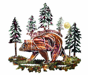 Foraging Grizzly Bear Metal Wall Art Sculpture