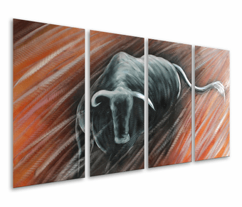 Fury of the Bull Hand-Painted Aluminum Wall Art Set of 4