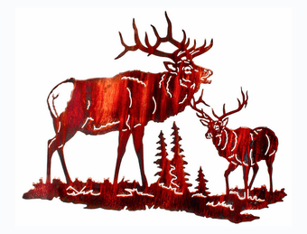 Gathering of Elk Metal Art