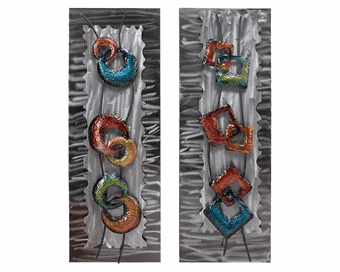 Glitz and Glam Contemporary Metal Wall Sculpture Set of 2