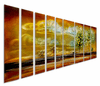 Golden Horizons Modern Tree Art Set of 9