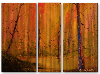 Golden Pond and Woods Landscape Art