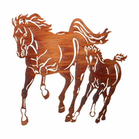 Horse with Colt Metal Wall Hanging