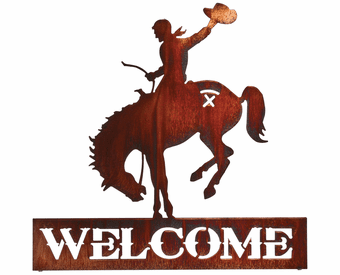 Horseback Rider Cowboy Welcome Metal Wall Sculpture