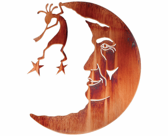 Kokopelli Moonscape Celestial Metal Wall Sculpture