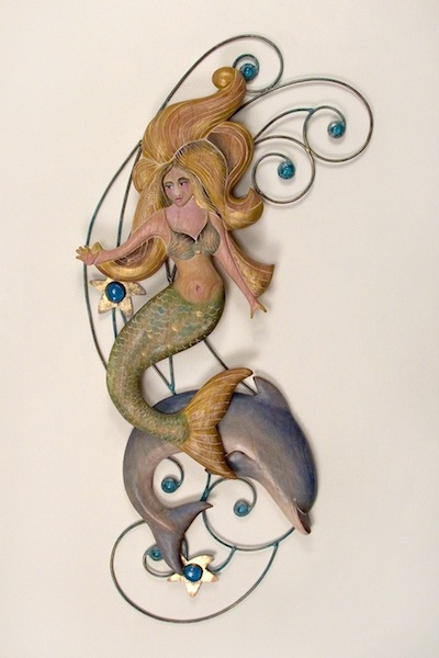 Lady in the Water Mermaid and Dolphin Metal Wall Hanging