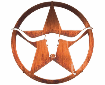 Longhorn Bull and Star of Texas Metal Wall Sculpture