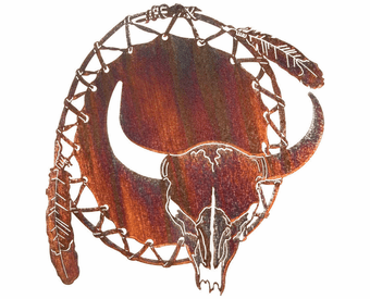 Longhorn Skull Dream Catcher Metal Wall Hanging