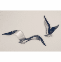 Metallic Gulls Modern Metal Wall Art