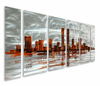 Metropolis Skyline Metal Wall Hanging Set of 6
