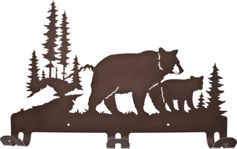 Momma and Baby Grizzly Bear Metal Wall Coat Rack