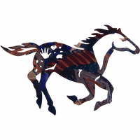 Mosaic Stallion in Motion Metal Wall Hanging