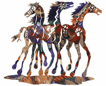 Mosaic Western Horses Metal Wall Sculpture