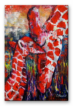 Mother and Child Giraffe Art